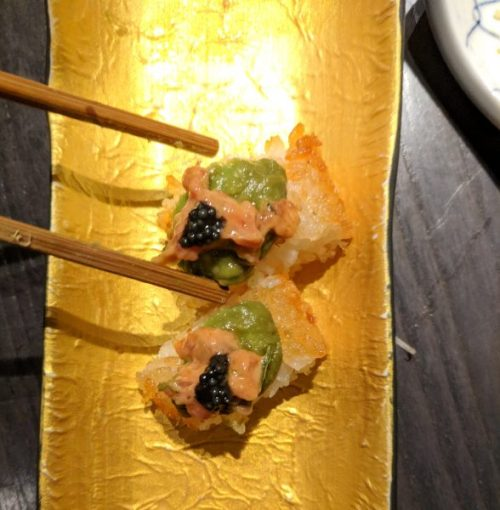 Crispy sushi roll with spicy tuna