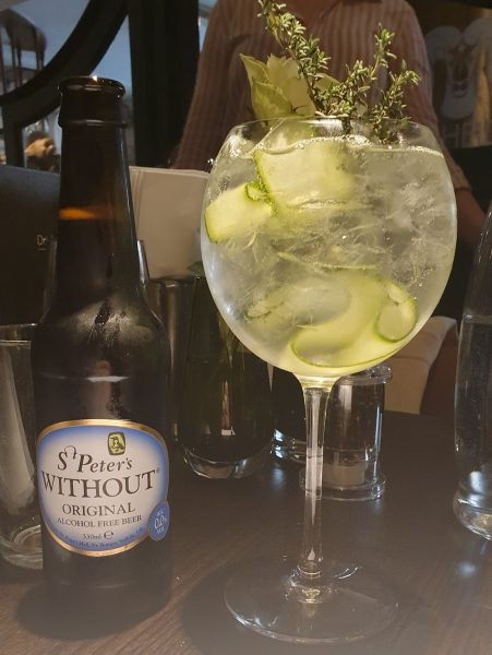Alcohol free beer and Seedlip cocktail