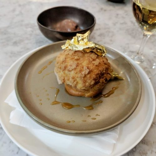 Crunchy, sweet, hazelnutty choux with gold on top.