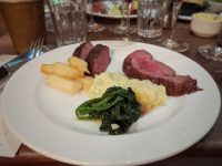Main plate number 1: sirloin, chateaubriand, chips, mash, spinach and Bearnaise sauce. Bliss!