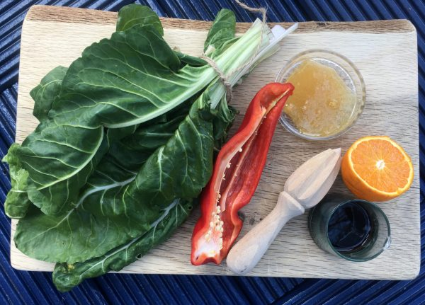 Chard, red pepper and orange: tangy and full of vitamins and iron.