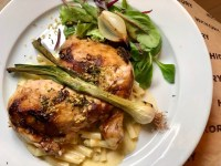 Miso and onion roasted chicken served with truffled mac n cheese and herb salad