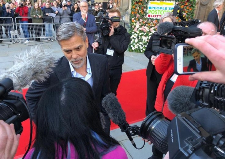 Video: George and Amal Clooney greet crowds in Edinburgh at charity gala