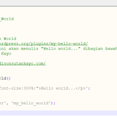 Hello world Wordpress plugin