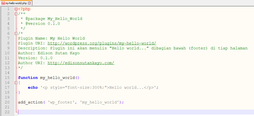 Hello world WordPress plugin