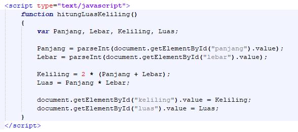 Javascript hitung luas dan keliling segi empat-fungsi hitung luas dan keliling