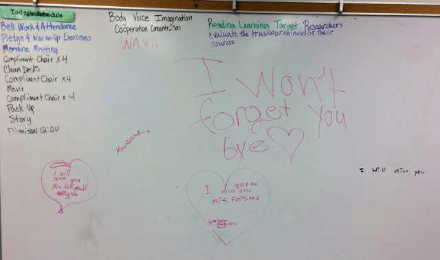 White board messages from students