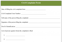 Complaint Form Template   Editable Forms