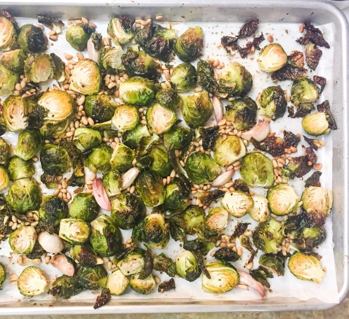 Roasted Brussels Sprouts With Pine Nuts and Garlic