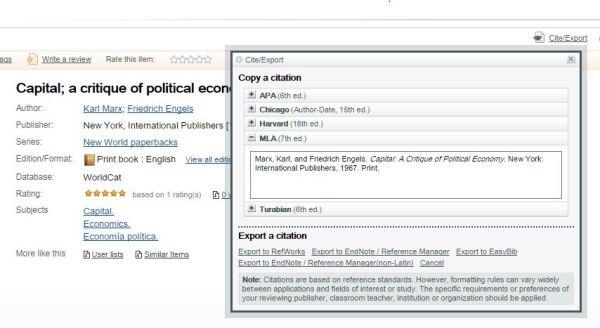 Worldcat MLA Citation for Capital