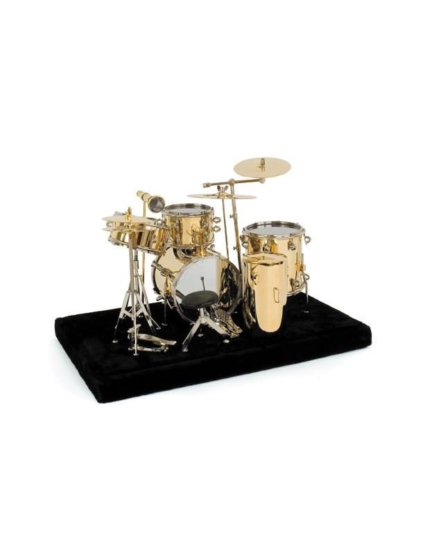 miniature drums music instrument in golden brass height 12 cm width 17 cm depth 13 cm