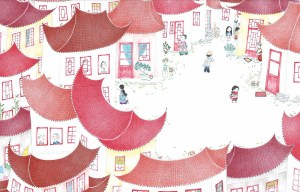 Illustration pour enfant d'un village chinois tout e couleurs