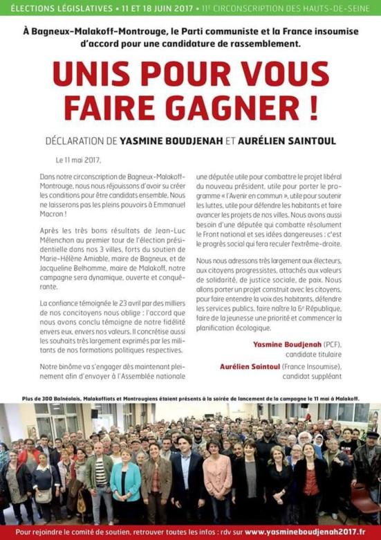 Le PCF et la FI unis dans la 11ème circonscription des Hauts-de-Seine