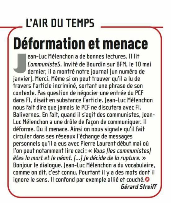 """PCF/FI : CommunisteS remet les points sur les """"i"""""""