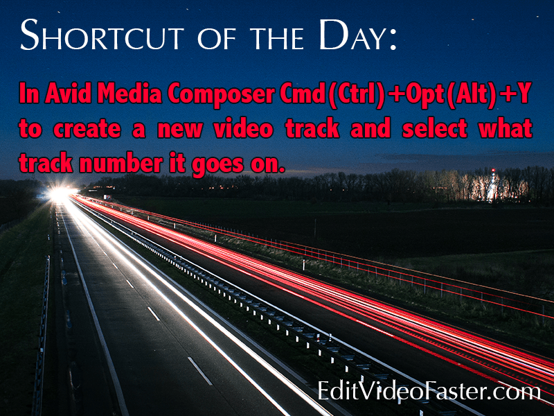 Create a new video track and select the track number