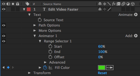 Parameters to Keyframe Text Color in After Effects