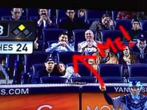 Me at the Yankees game on Monday giving a heart symbol to my wife watching from Virginia.
