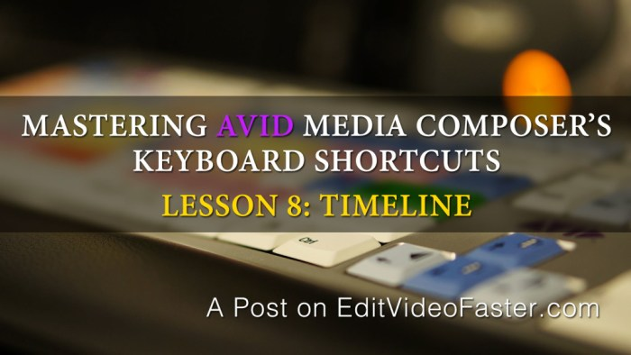 Mastering Avid Media Composers Keyboard Shortcuts – Lesson 8 on the Timeline