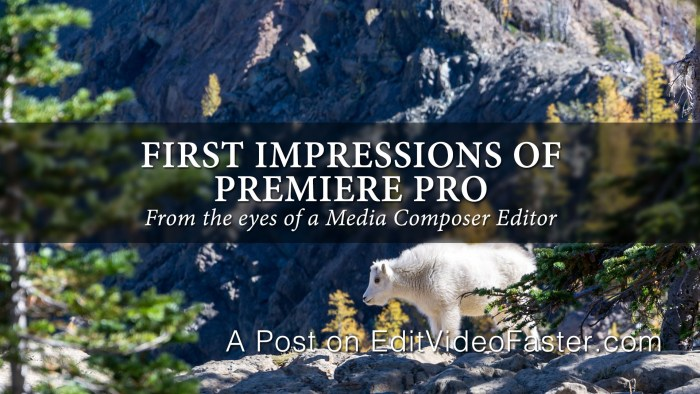 First Impressions of Premiere Pro
