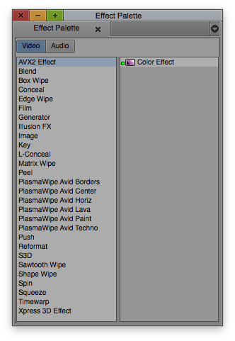 Effect Palette Keyboard Shortcut in Avid