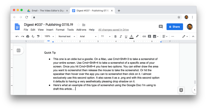screenshot of Google Doc using Mac shortcut for taking screenshot