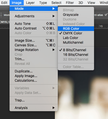 Menu in Photoshop to show how to change a file to RBG Color from CMKY Color