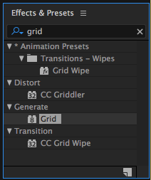 Grid Effect in Effects & Presets Panel in After Effects