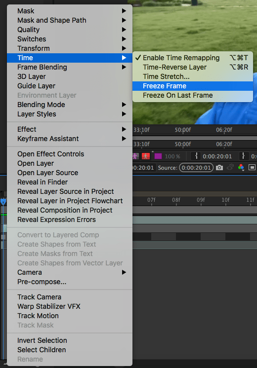 Freeze Frame Menu in After Effects