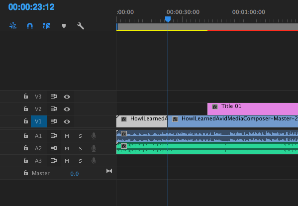 Example timeline in Premiere Pro with Add Edit applied