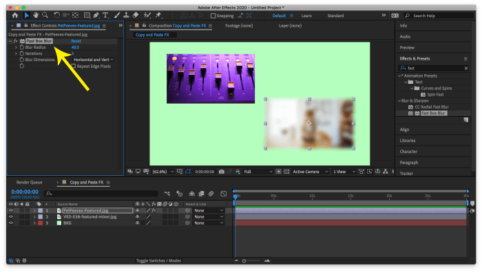 Effect Controls Panel with Effect Selected to be Copied in After Effects