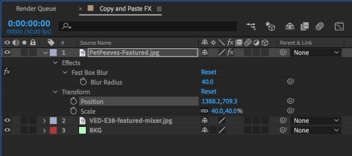 After Effects Timeline Showing Modified Properties to Copy