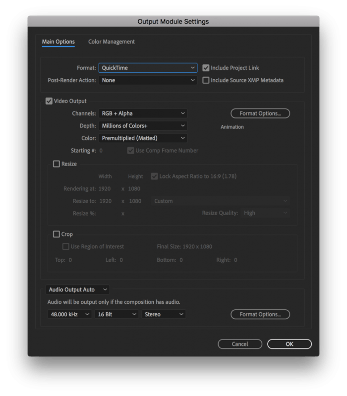 Output Module Settings in After Effects with QuickTime selected as the Format