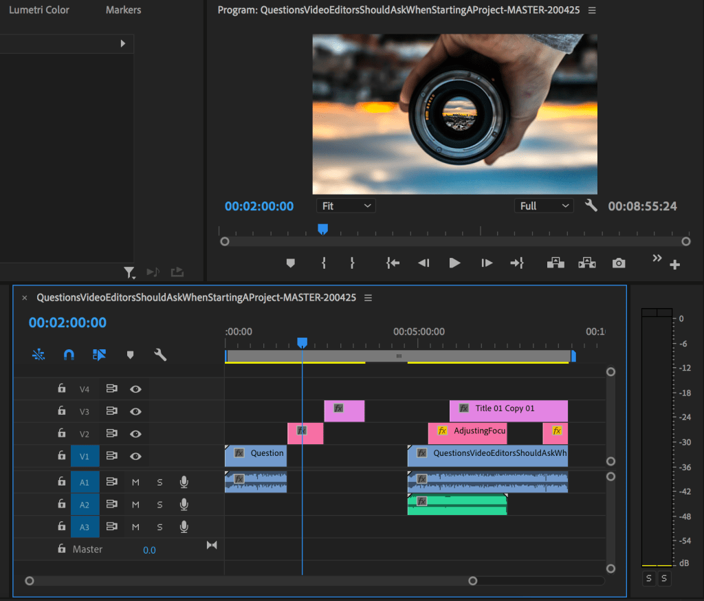 Premiere Pro with one clip on a video track