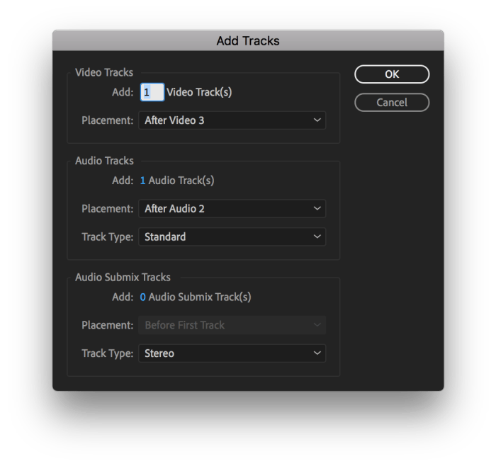 Add Tracks box in Premiere Pro