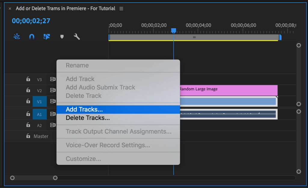 Menu with Add Tracks highlighted that appears in Premiere Pro after right-clicking blank area of timeline