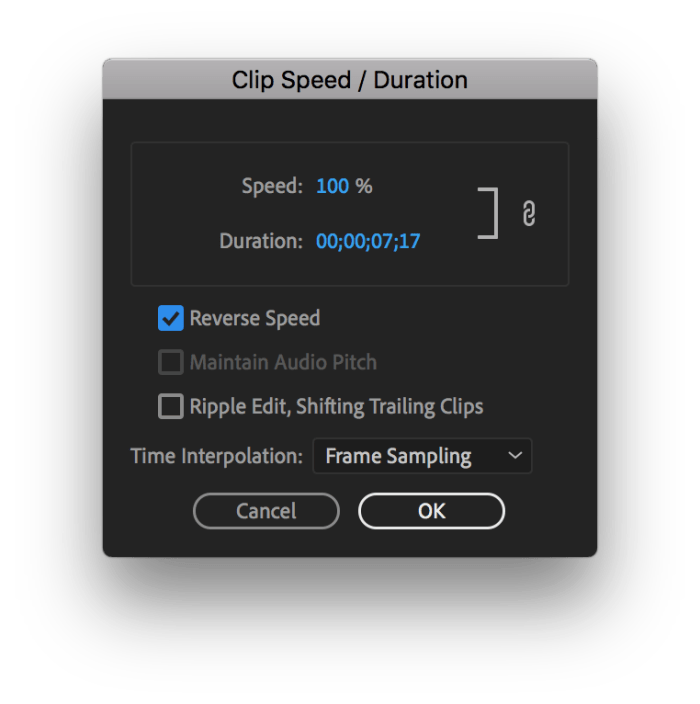 Using the Speed/Duration Tool to play a video backwards in Premiere Pro