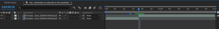 After Effects Timeline Panel after preforming split layer