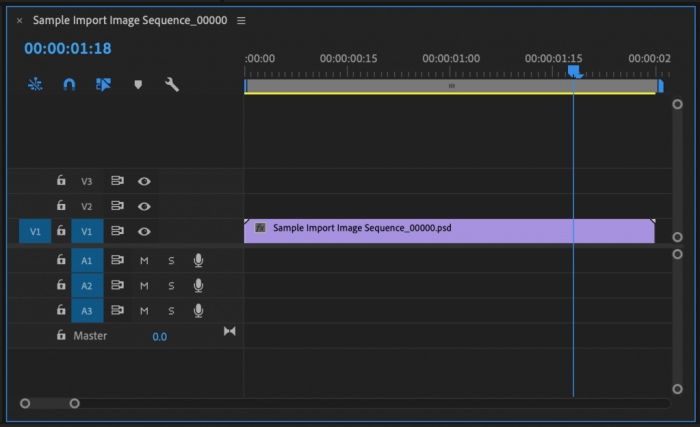 Image Sequence in a Premiere Pro timeline