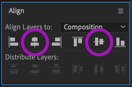 Align panel in After Effects with Align Horizontally and Align Vertically circled