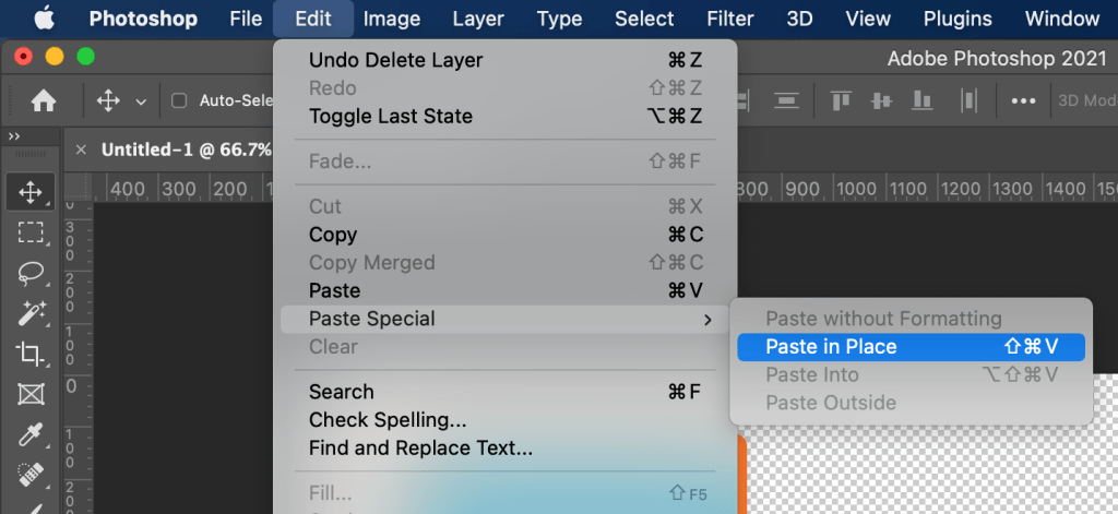 Photoshop menu showing Paste in Place