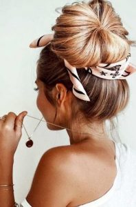 high bun with scurf