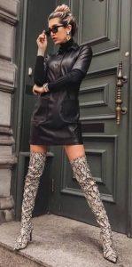 ντύσιμο δερμάτινο φόρεμα ψηλές μπότες