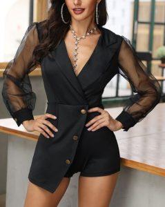 μαύρη ολόσωμη φόρμα με διαφάνεια