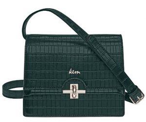 πράσινη ανάγλυφη τσάντα χιαστί