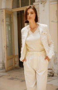 άσπρο πλεκτό blazer zini χειμώνας 2021