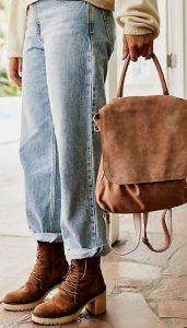 καφέ τσάντα πλάτης