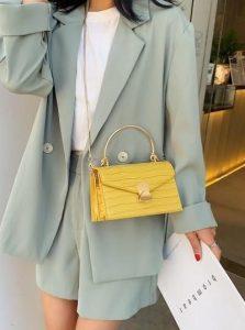 κίτρινη κροκό γυναικεία τσάντα