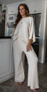 λευκό σετ μπλούζα παντελόνα