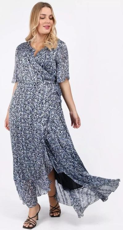 εμπριμέ κοντομάνικο φόρεμα δέσιμο στο πλάι ediva.gr