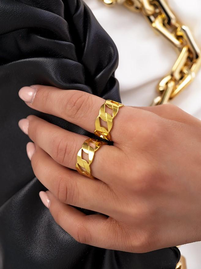 ατσάλινο χρυσό δαχτυλίδι